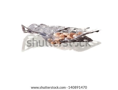 Expired drugs on white background. - stock photo
