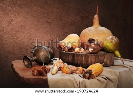 Expired pumpkins with calabash as still life art photography - stock photo