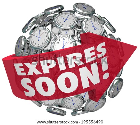 Expires Soon words clock sphere limited time offer, sale discount event ending deadline - stock photo