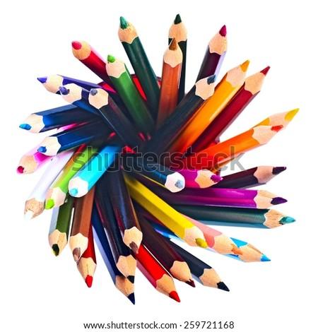 exploding color pencils  - stock photo