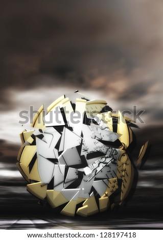 Exploding Euro Coin - stock photo