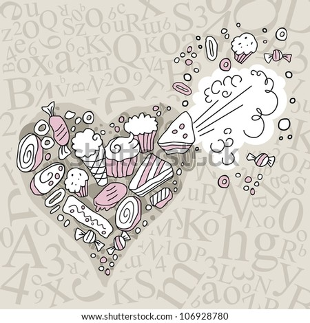 Exploding heart full of sweets, on random letters background - stock photo