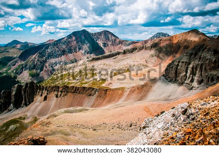 Exploration and Backpacking Leads you to Far off Places Ice Lake Basin High altitude surrounding View San Juan Mountains Looking West , near Telluride Colorado  - stock photo