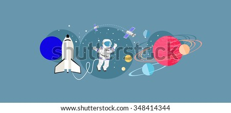 Exploration new planets icon flat isolated. Science space galaxy, universe and satellite, astronomy and astronaut, mission and rocket, solar and cosmos, probe and future discovery illustration - stock photo