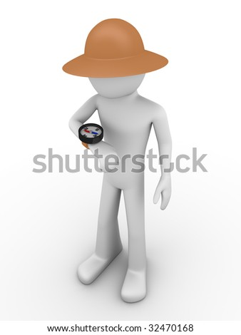 Explorer looking at compass - stock photo