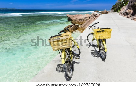Exploring the island of La Digue, Seychelles - stock photo