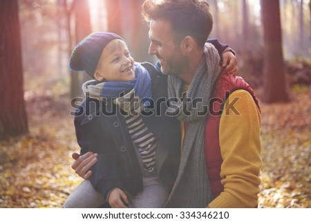 Exploring the nature with dad - stock photo