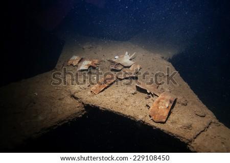 Exploring world war II shipwreck in Coron area, Palawan, Philippines. - stock photo