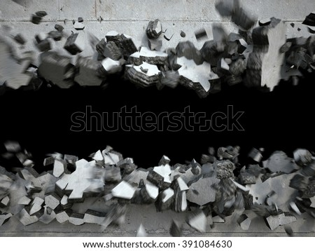 explosion, cracked concrete wall, destruction, abstract 3d background - stock photo