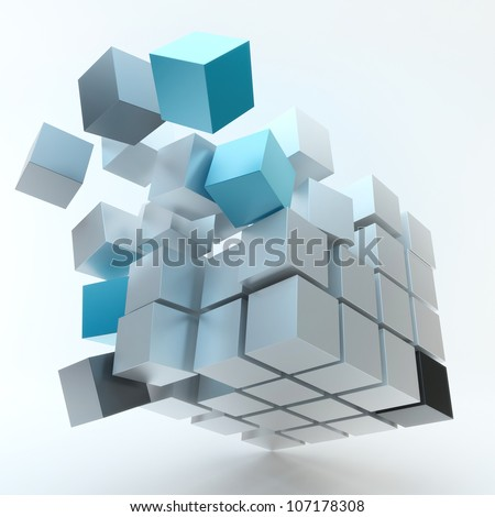 Explosion Cube - stock photo