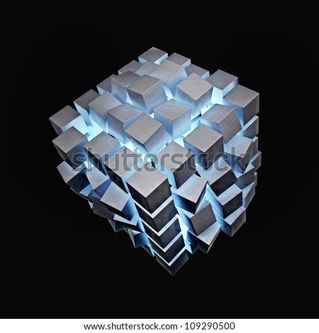 Explosion Cube With Blue Light - stock photo