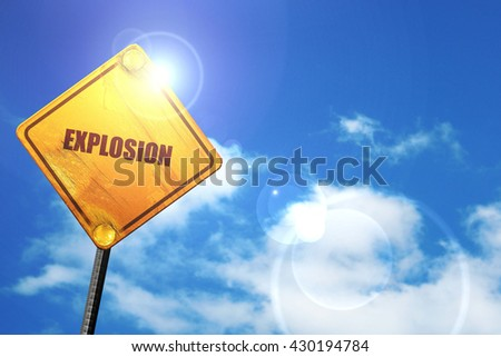 explosion, 3D rendering, glowing yellow traffic sign  - stock photo