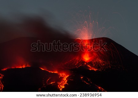 Explosion during the eruption of Mount Etna - stock photo
