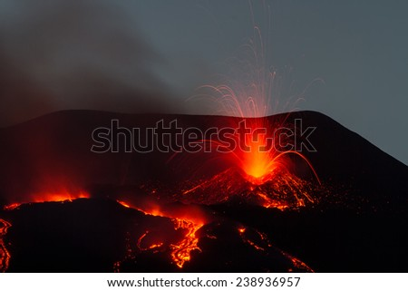 Explosion during the eruption of Mount Etna