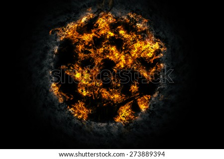 Explosion fire ball in the dark - stock photo