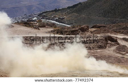explosion in a mine in bolivia - stock photo