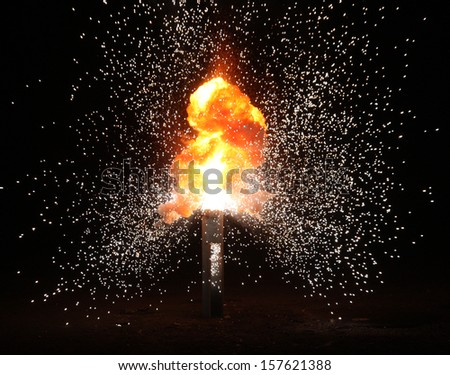Explosion in the old hall - stock photo