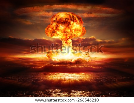 explosion nuclear bomb in ocean  - stock photo