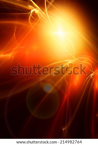 Explosion of a star. Fractal art - stock photo