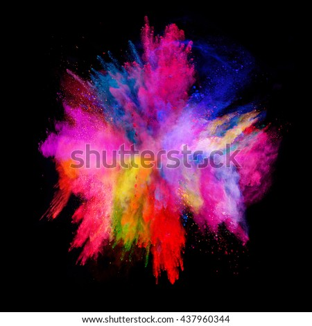 Explosion of colored powder, isolated on black background - stock photo