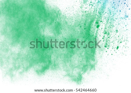 Explosion of colored powder on white background ,Freeze motion of color powder exploding/throwing color powder, multicolored glitter texture.