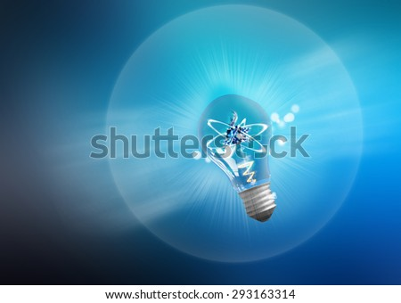 Explosion of ideas. Light bulb lamps on a colour background. Path included. - stock photo