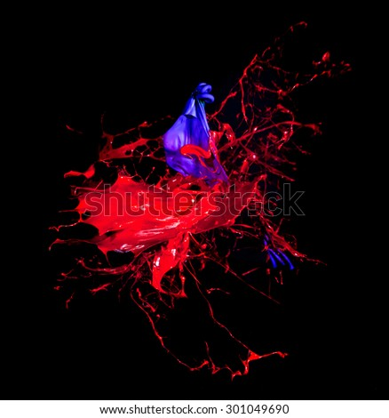 explosion of ink and balloon - stock photo