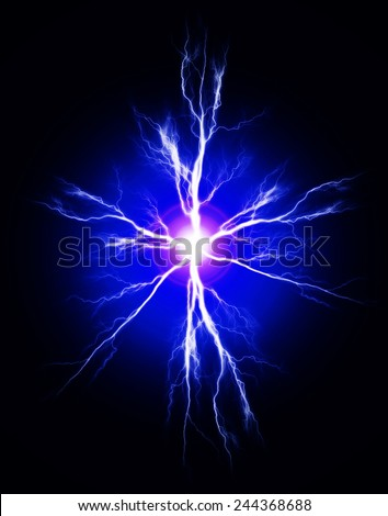 Explosion of pure power and electricity in the dark - stock photo
