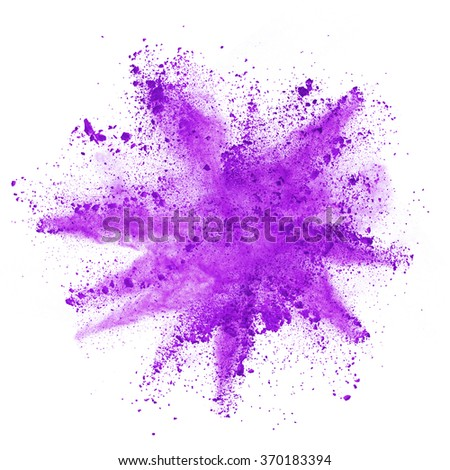 Explosion of purple powder, isolated on white background - stock photo