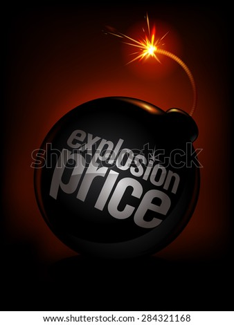 Explosion price, sale background with bomb, rasterized version. - stock photo