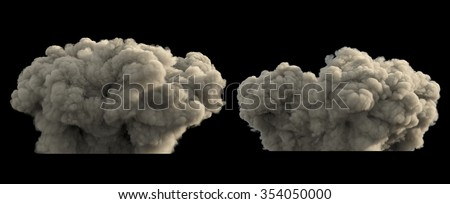 Explosion smoke or dust clouds - stock photo