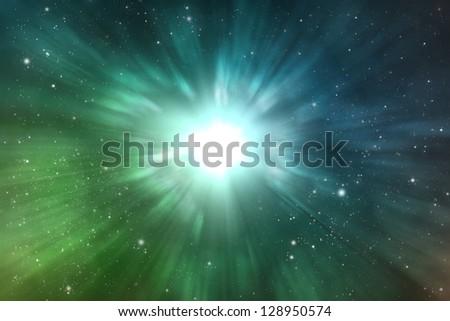 explosion space scene - stock photo