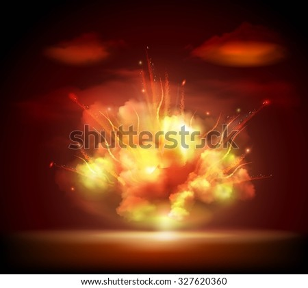 Explosion sparkling glow bursting in the night darkness with bright flashes background banner abstract  illustration. Editable EPS and Render in JPG format - stock photo