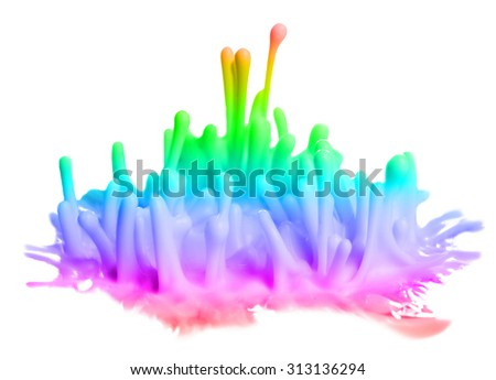 Explosions of color paints isolated on white - stock photo
