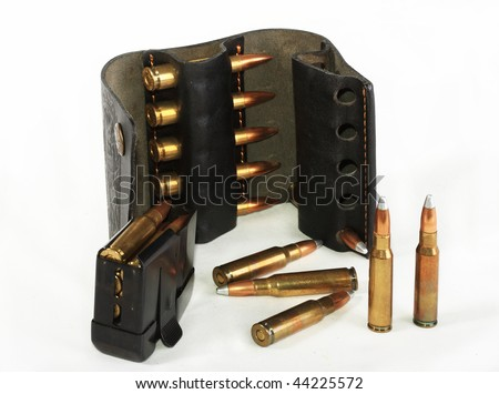 Explosive cartridges for a rifle, calibre 308 Win, possess huge power and destructive power - stock photo