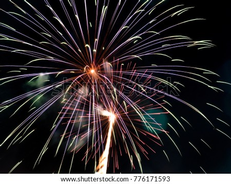 explosive firework has colourful for cerebrate new years, temple fair, party, or good moment.
