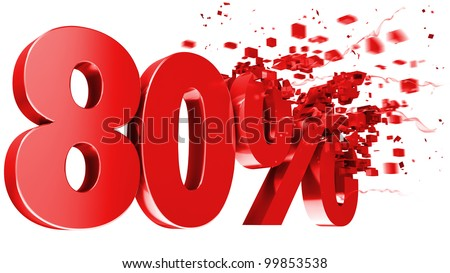 explosive 80 percent off isolated on white background - stock photo