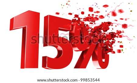 explosive 15 percent off isolated on white background - stock photo