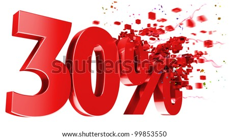 explosive 30 percent off isolated on white background - stock photo