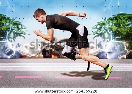 Explosive sprint of male athlete on road surface with strong reflecting metal background. Filtered version. - stock photo