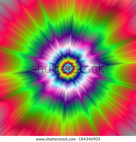 Explosive Tie-Dye / Digital abstract fractal image with a explosive tie-dye design in blue, green, pink, violet and yellow.