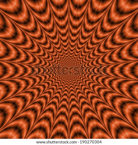 Explosive Web in Orange / A digital abstract fractal image with an optically challenging explosive web design in orange.