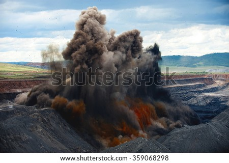 Explosive works on a coal mine - stock photo