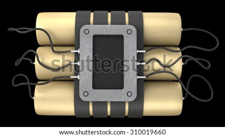 Explosives with alarm clock detonator isolated on black background. High resolution 3D image - stock photo