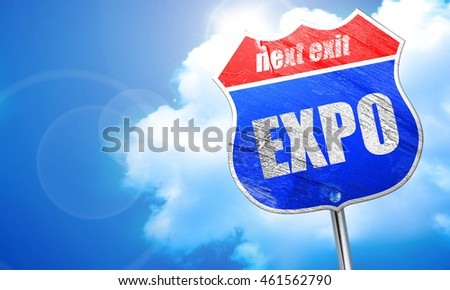 expo, 3D rendering, blue street sign