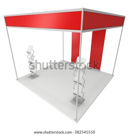 Expo Trade Show Booth Red and Blank with Magazine Rack and Roll Up Stand. Blank Indoor Exhibition with Work Paths for Expo. 3d render isolated on white background. Template for your expo design.