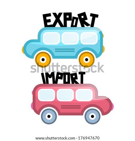 Export Import Bus Icons Isolated on White Background - stock photo