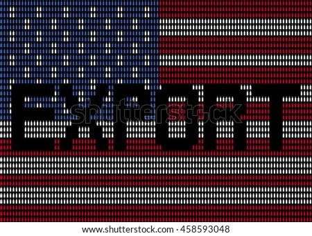 Export text on American bottle flag illustration
