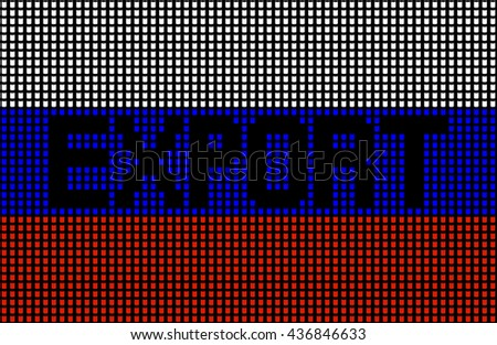 Export text over Russian flag barrels illustration