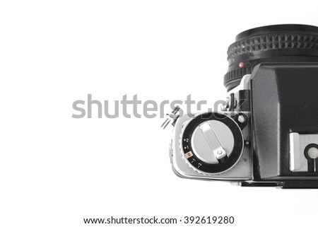 Exposure compensation dial on a old style single lens reflex SLR camera set to zero - stock photo